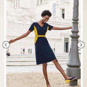 Boden dress- navy/gold(mustard)